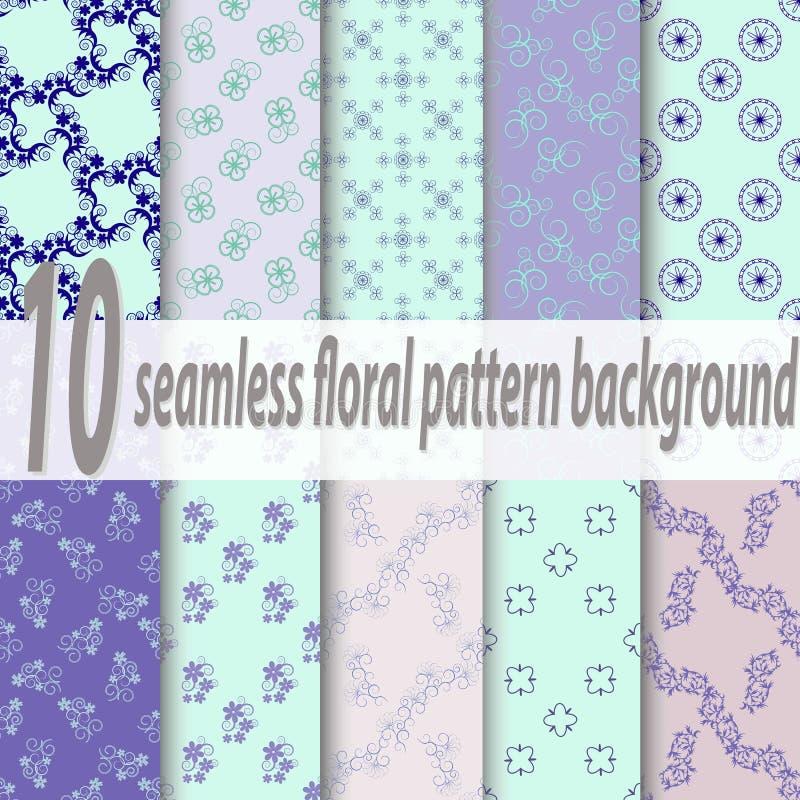 Σύνολο δέκα άνευ ραφής floral σχεδίων Μπλε, ρόδινα, πράσινα μαλακά χρώματα Swatches των άνευ ραφής σχεδίων που περιλαμβάνονται στ ελεύθερη απεικόνιση δικαιώματος
