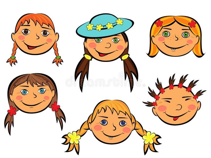 Σύνολο έξι αστείων προσώπων κοριτσιών απεικόνιση αποθεμάτων