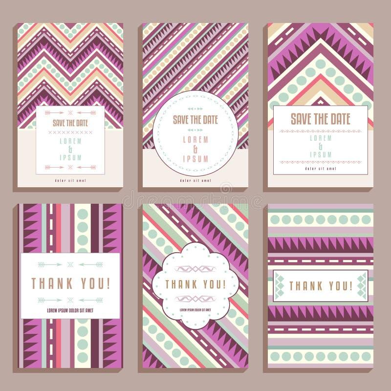 Σύνολο έξι γαμήλιων καρτών με τις γεωμετρικές διακοσμήσεις ελεύθερη απεικόνιση δικαιώματος