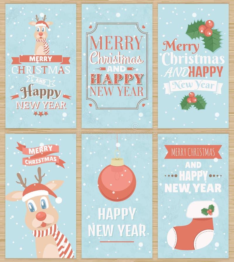 Σύνολο έξι ευχετήριων καρτών Χριστουγέννων ελεύθερη απεικόνιση δικαιώματος