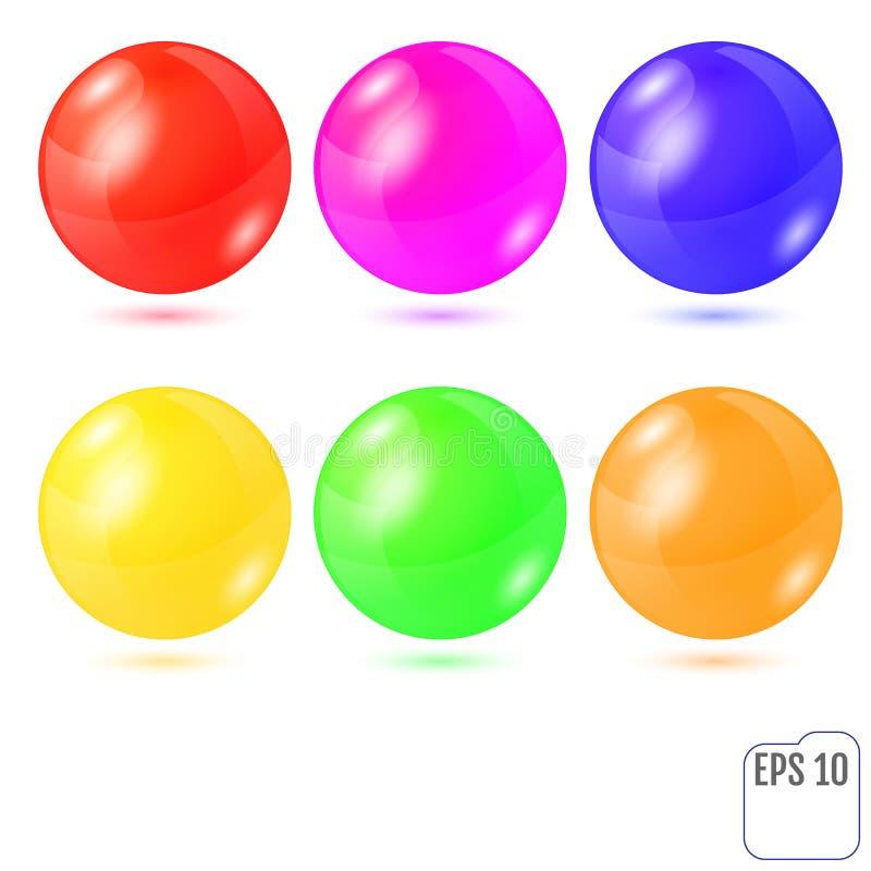 Σύνολο έξι πολύχρωμων ρεαλιστικών χρωματισμένων σφαιρών που απομονώνεται στο wh ελεύθερη απεικόνιση δικαιώματος