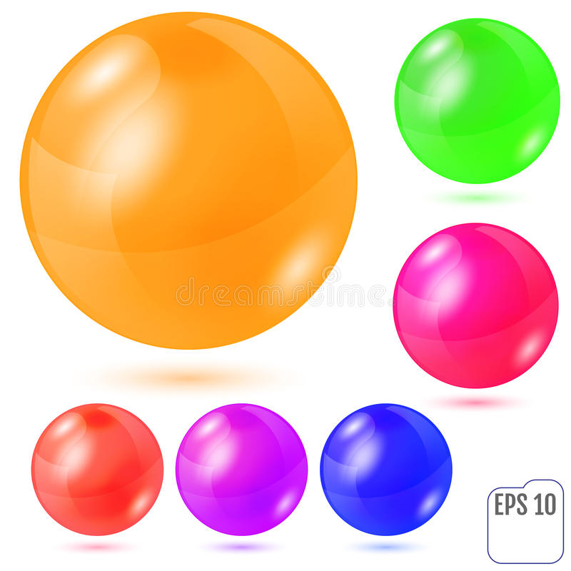 Σύνολο έξι πολύχρωμων ρεαλιστικών χρωματισμένων σφαιρών που απομονώνεται στο wh απεικόνιση αποθεμάτων
