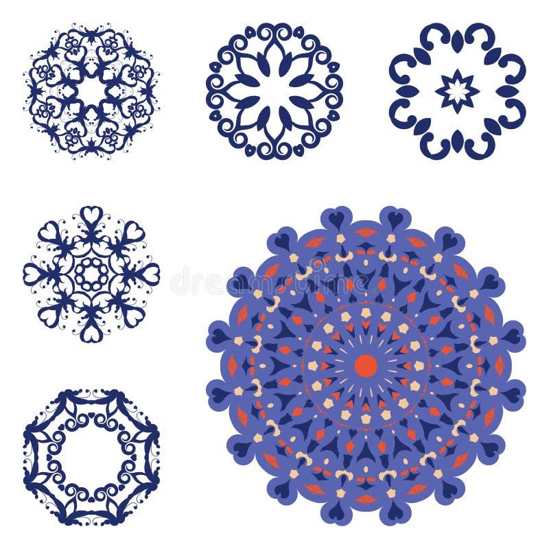 Σύνολο έξι mandalas στοκ εικόνες