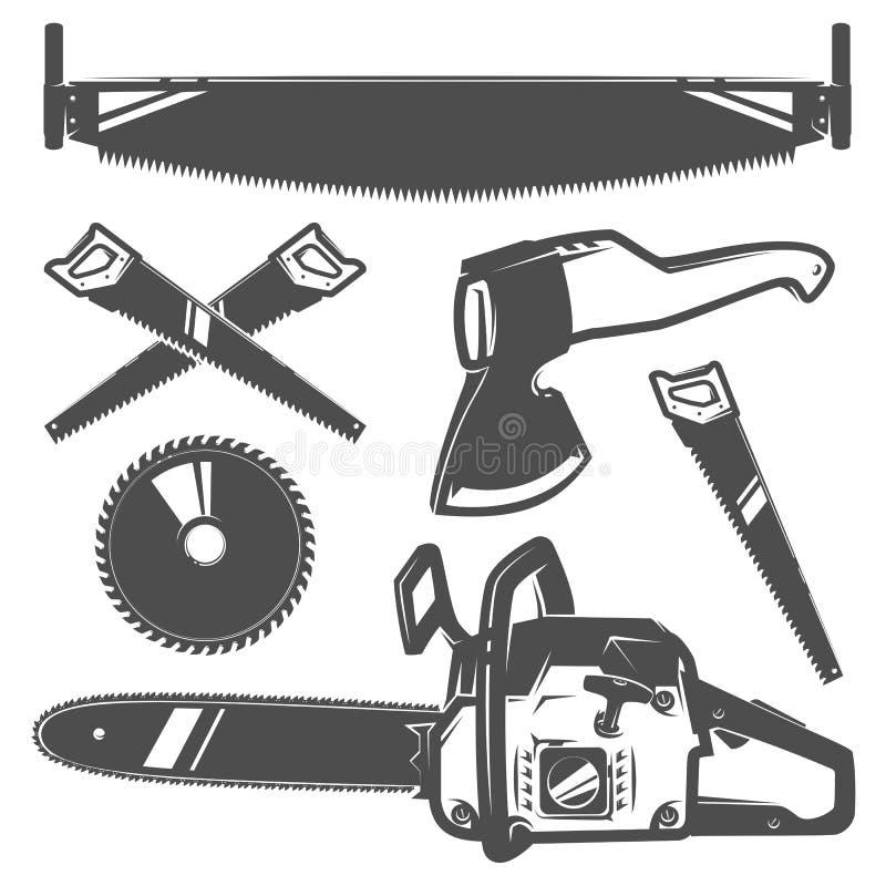Σύνολο ή υλοτόμος για το ύφος vinage υλοτόμων μπλουζών και δερματοστιξιών, τα εμβλήματα και το λογότυπο απεικόνιση αποθεμάτων