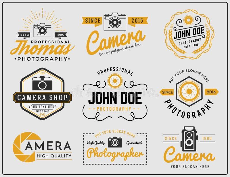 Σύνολο δίχρωμου σχεδίου διακριτικών λογότυπων υπηρεσιών φωτογραφίας χρωμάτων και καμερών διανυσματική απεικόνιση