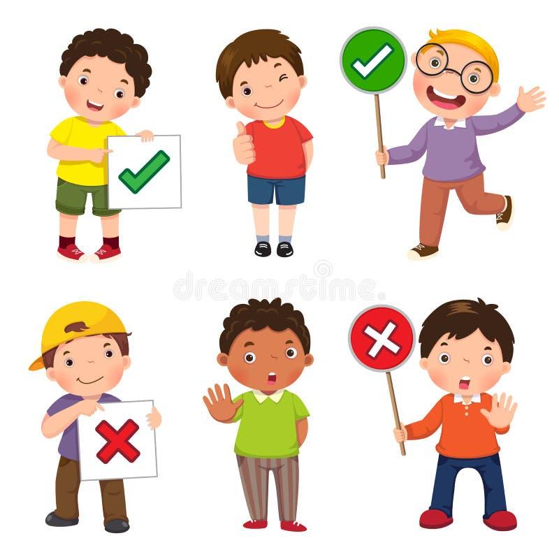 Σύνολο αγοριών που κρατούν και που κάνουν δεξιά και λανθασμένων σημαδιών διανυσματική απεικόνιση