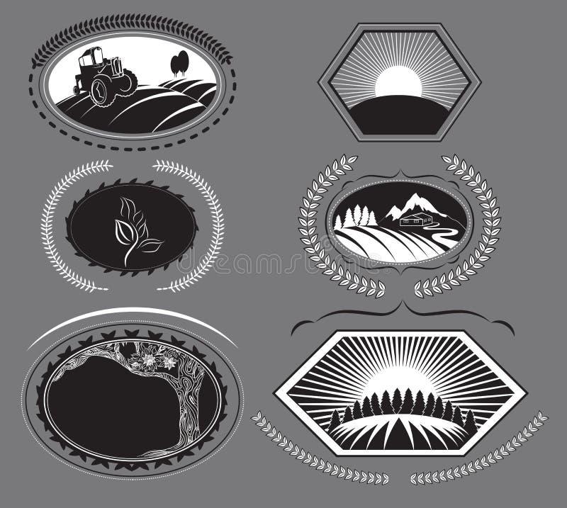Σύνολο αγροτικών ετικετών απεικόνιση αποθεμάτων