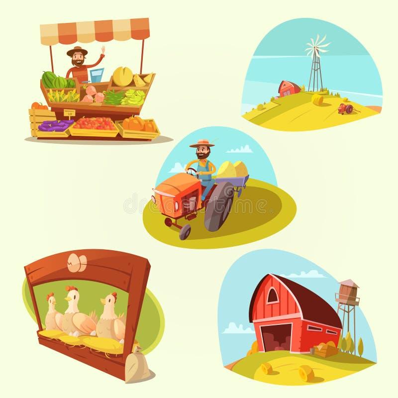 Σύνολο αγροτικών κινούμενων σχεδίων απεικόνιση αποθεμάτων