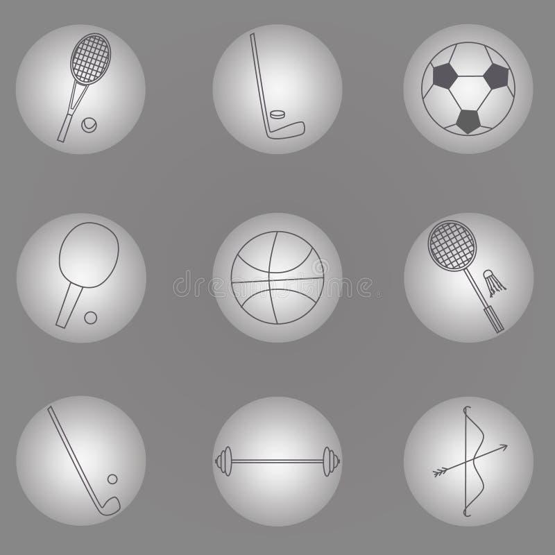 Σύνολο αθλητικών εικονιδίων, αθλητικός εξοπλισμός στο γκρίζο υπόβαθρο, μαργαριταρένια σειρά ελεύθερη απεικόνιση δικαιώματος