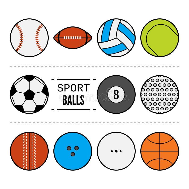Σύνολο αθλητικών σφαιρών για τα παιχνίδια Επίπεδα εικονίδια, αθλητικός εξοπλισμός ελεύθερη απεικόνιση δικαιώματος