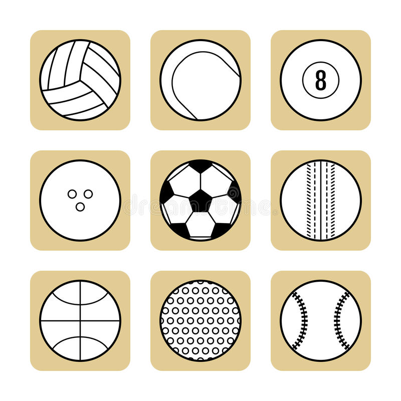 Σύνολο αθλητικών σφαιρών για τα παιχνίδια Επίπεδα εικονίδια, αθλητικός εξοπλισμός απεικόνιση αποθεμάτων