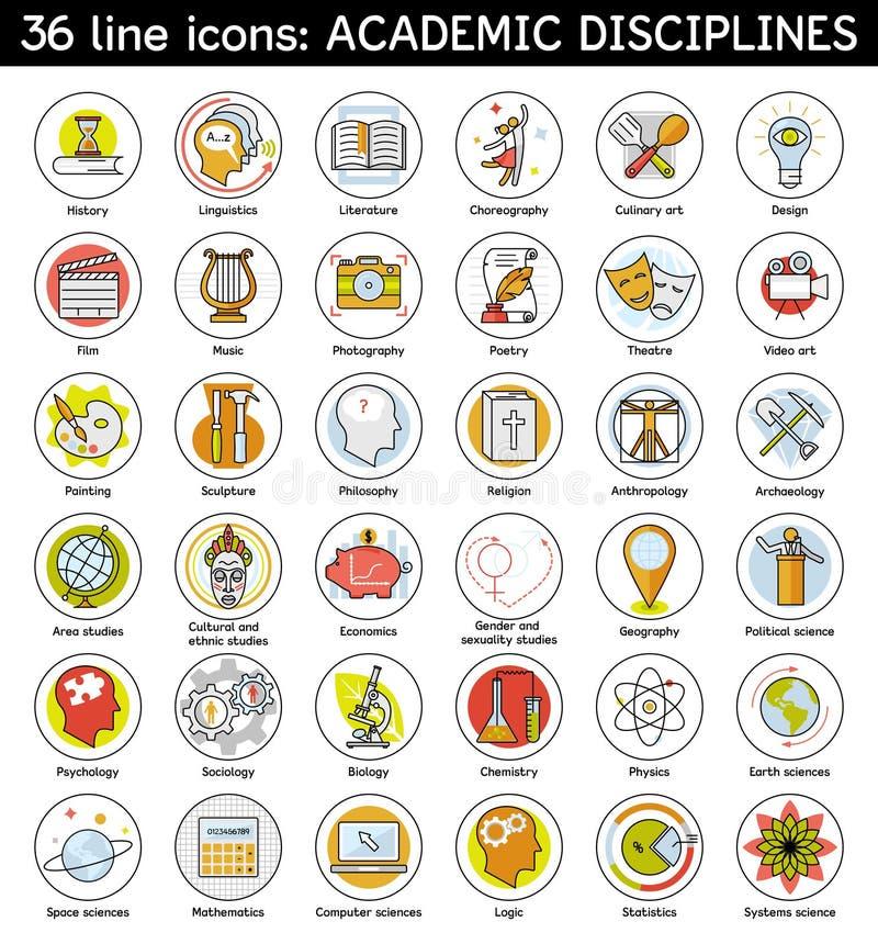 Σύνολο ακαδημαϊκών εικονιδίων πειθαρχιών απεικόνιση αποθεμάτων