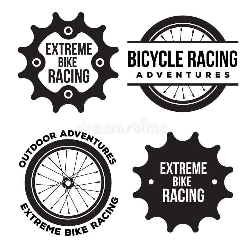 Σύνολο ακραίου σχετικού με τον αθλητισμό λογότυπου ποδηλάτων, εμβλήματα ελεύθερη απεικόνιση δικαιώματος
