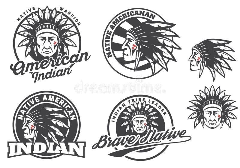 Σύνολο αμερικανικών ινδικών στρογγυλών λογότυπου, διακριτικών και εμβλημάτων που απομονώνονται στο άσπρο υπόβαθρο διανυσματική απεικόνιση