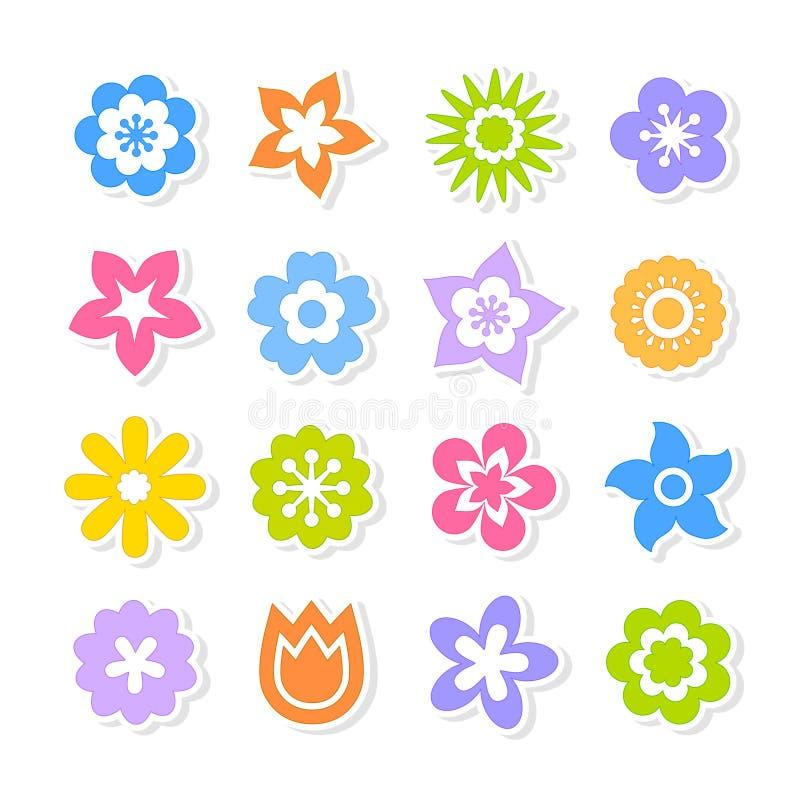Σύνολο λαμπρά χρωματισμένων λουλουδιών στο άσπρο υπόβαθρο απεικόνιση αποθεμάτων