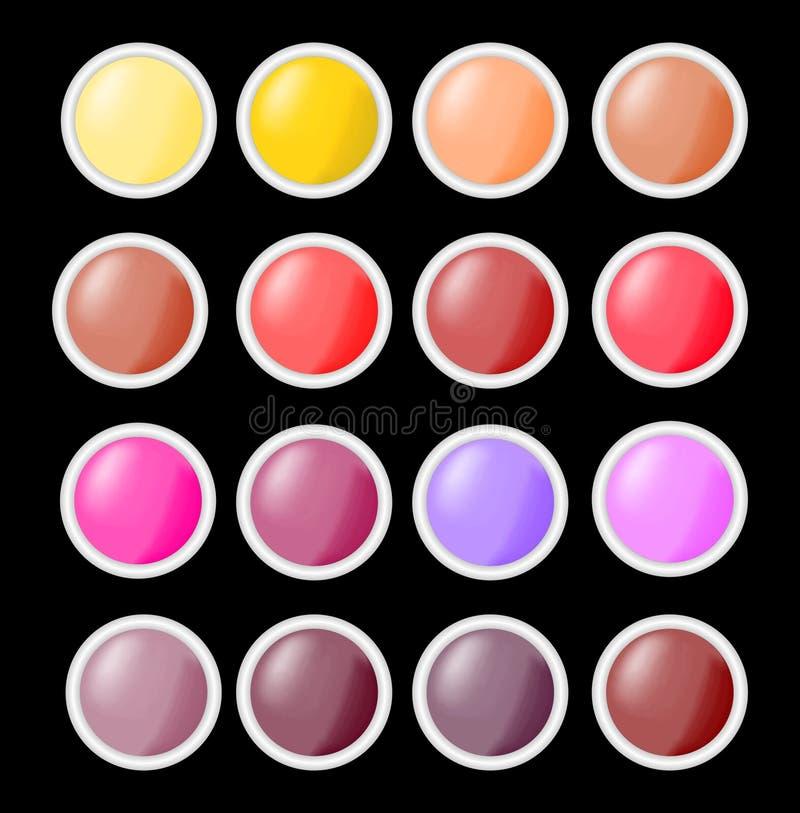 Σύνολο λαμπρών κενών κουμπιών κύκλων στα διαφορετικά χρώματα με το γκρίζο μεταλλικό πλαίσιο, κενά κουμπιά χρήσιμα για το σχέδιο Ι διανυσματική απεικόνιση