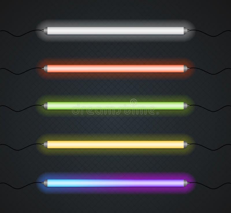 Σύνολο λαμπτήρων γραμμών νέου χρώματος διάνυσμα απεικόνιση αποθεμάτων