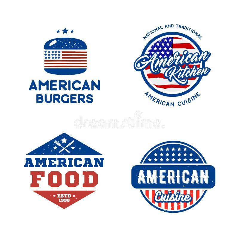 Σύνολο αναδρομικής έννοιας κουζίνας λογότυπων αμερικανικής διανυσματική απεικόνιση