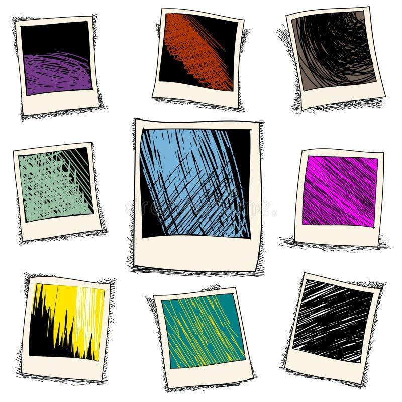 Σύνολο αναδρομικού πλαισίου φωτογραφιών στο ύφος doodle διανυσματική απεικόνιση