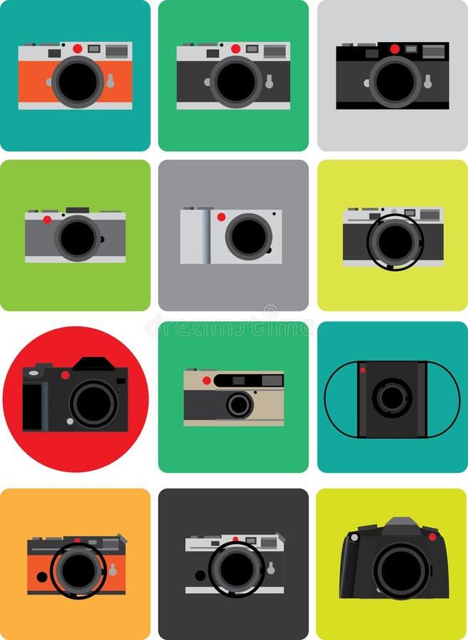 Σύνολο αναδρομικού ταινιών σπάνιου στοιχείου σημείων καμερών κόκκινου στο ζωηρόχρωμο ελάχιστο ύφος στοκ φωτογραφία με δικαίωμα ελεύθερης χρήσης