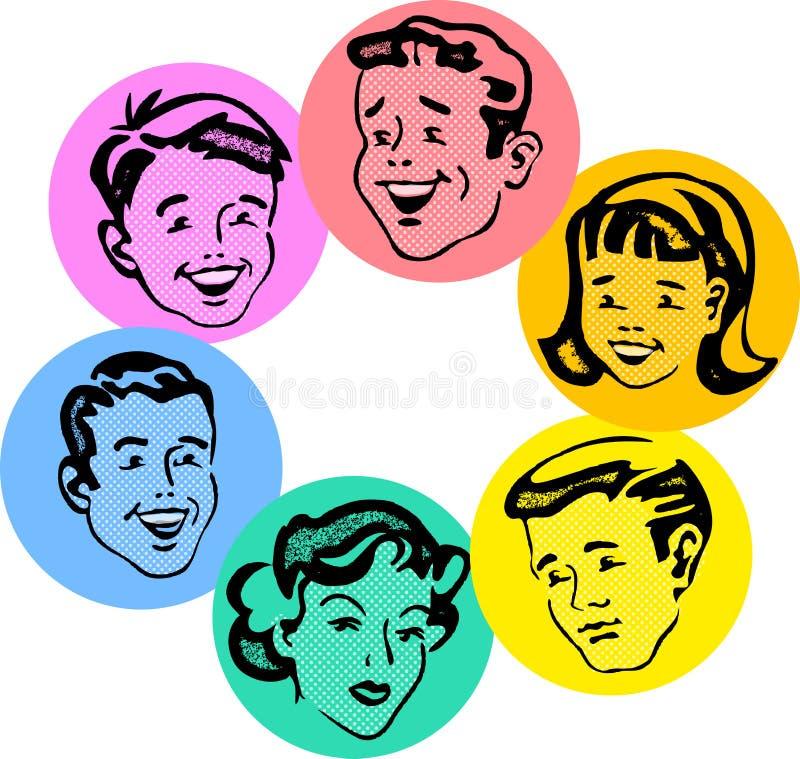 Σύνολο αναδρομικών οικογενειακών προσώπων απεικόνιση αποθεμάτων