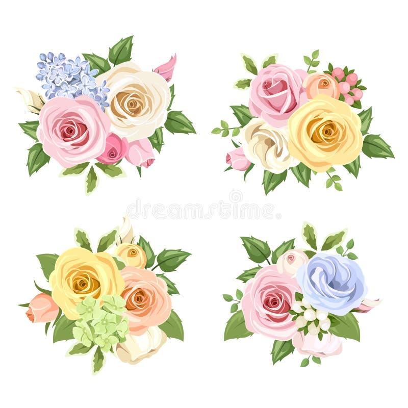 Σύνολο ανθοδεσμών των ζωηρόχρωμων τριαντάφυλλων και των λουλουδιών lisianthus επίσης corel σύρετε το διάνυσμα απεικόνισης ελεύθερη απεικόνιση δικαιώματος