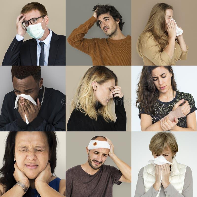 Σύνολο ανθρώπων ποικιλομορφίας με το κολάζ στούντιο ασθένειας υγείας στοκ φωτογραφία με δικαίωμα ελεύθερης χρήσης