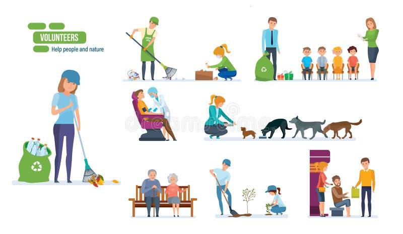 Σύνολο ανθρώπων που βοηθούν τους ηλικιωμένους, τα ζώα, τη φυτεύοντας και καθαρίζοντας πόλη ελεύθερη απεικόνιση δικαιώματος