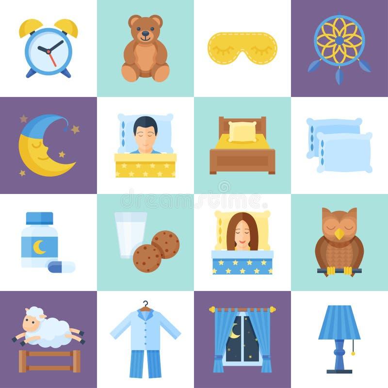 Σύνολο αντικειμένου χρόνου ανάπαυλας ύπνου διανυσματική απεικόνιση