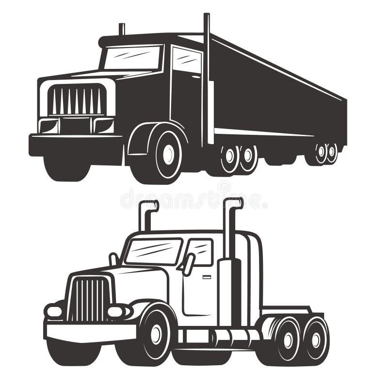 Σύνολο απεικονίσεων φορτηγών που απομονώνονται στο άσπρο υπόβαθρο Σχέδιο διανυσματική απεικόνιση