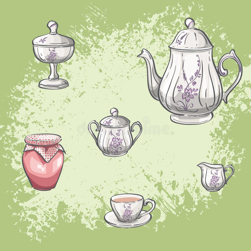 Σύνολο απεικόνισης βάζων τσαγιού και μαρμελάδας απεικόνιση αποθεμάτων