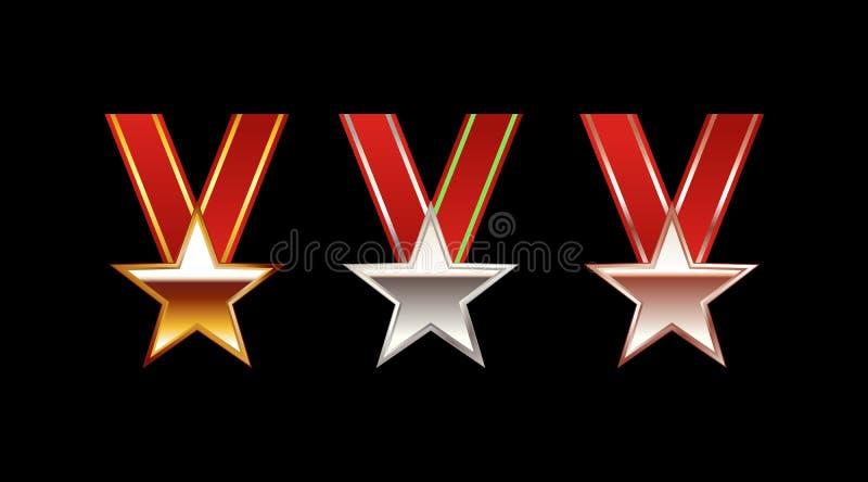 Σύνολο απεικόνισης μεταλλίων αστεριών Χρυσό μετάλλιο Ασημένιο μετάλλιο Χάλκινο μετάλλιο απεικόνιση αποθεμάτων