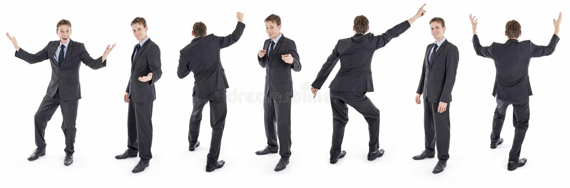 Σύνολο απομονωμένου ευτυχούς επιχειρηματία στο κοστούμι στοκ φωτογραφίες με δικαίωμα ελεύθερης χρήσης