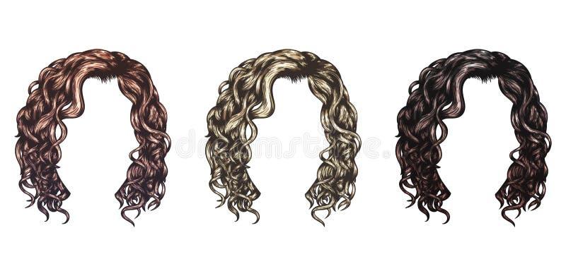 Σύνολο απομονωμένου διανύσματος hairstyles απεικόνιση αποθεμάτων