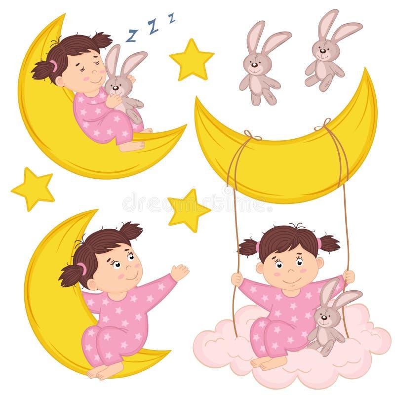Σύνολο απομονωμένου κοριτσιού στο φεγγάρι διανυσματική απεικόνιση