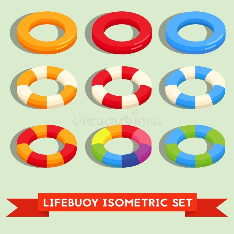 Σύνολο απομονωμένου lifebuoy ή κολυμπώντας δαχτυλιδιού ελεύθερη απεικόνιση δικαιώματος