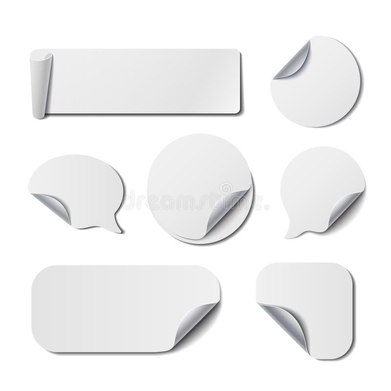 Σύνολο απομονωμένων λευκό αυτοκόλλητων ετικεττών διανυσματική απεικόνιση