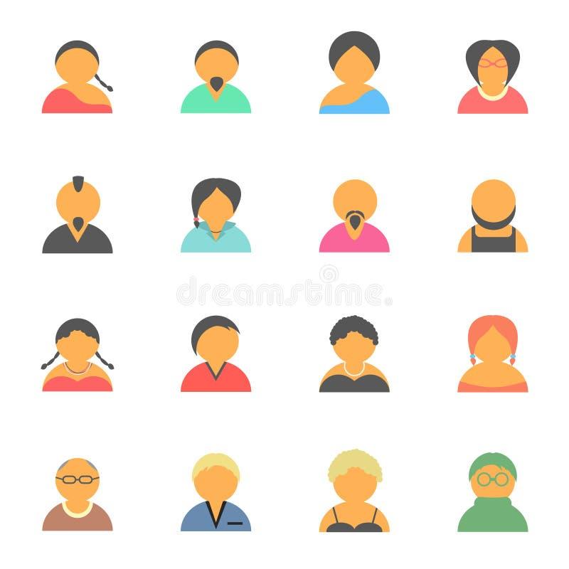 Σύνολο απλών εικονιδίων ανθρώπων ειδώλων προσώπου διανυσματική απεικόνιση