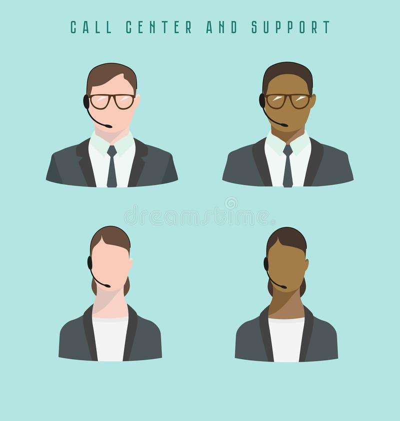 Σύνολο αρσενικών και θηλυκών ειδώλων τηλεφωνικών κέντρων εικονιδίων με μια κάσκα ελεύθερη απεικόνιση δικαιώματος
