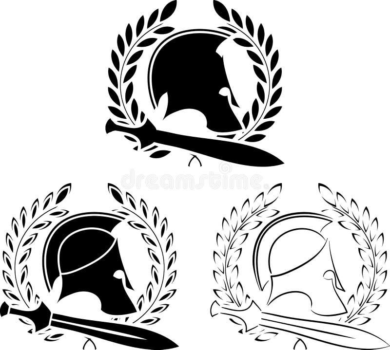 Σύνολο αρχαίων κρανών με τα ξίφη και τα στεφάνια δαφνών απεικόνιση αποθεμάτων