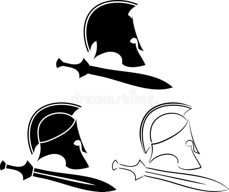 Σύνολο αρχαίων κρανών με τα ξίφη απεικόνιση αποθεμάτων