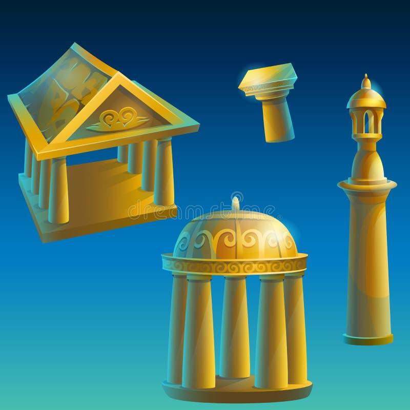 Σύνολο αρχαίων κτηρίων απεικόνιση αποθεμάτων