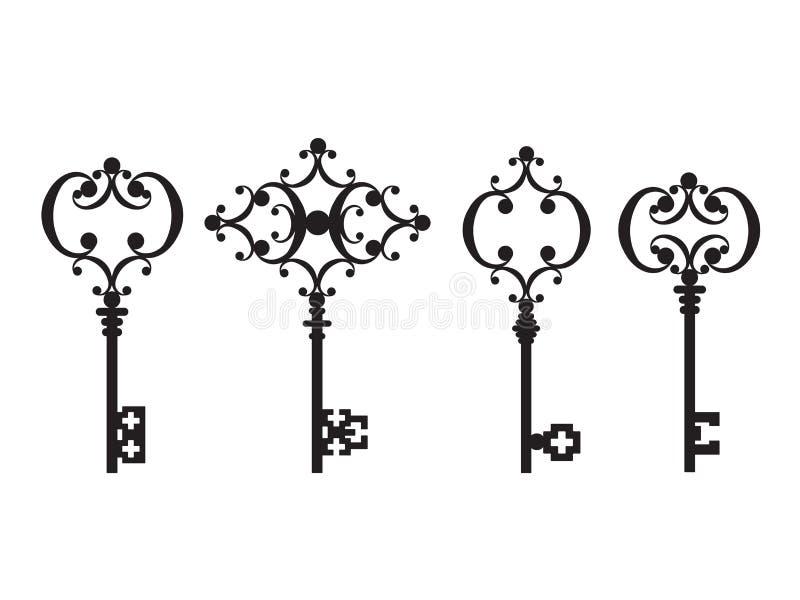 Σύνολο αρχαίων κλειδιών διανυσματική απεικόνιση