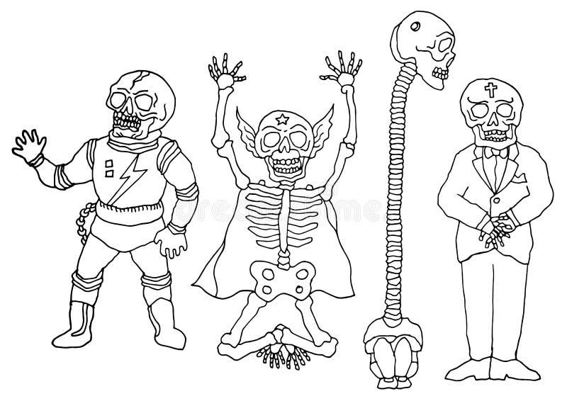 Σύνολο αστείου σκελετού κρανίων ζάχαρης, διανυσματικό χέρι σχεδίου απεικόνισης που σύρεται απεικόνιση αποθεμάτων