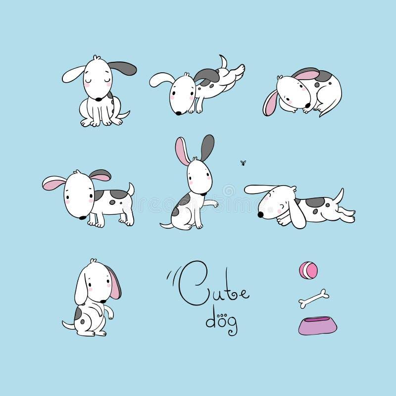 Σύνολο αστείων σκυλιών κινούμενων σχεδίων απεικόνιση αποθεμάτων