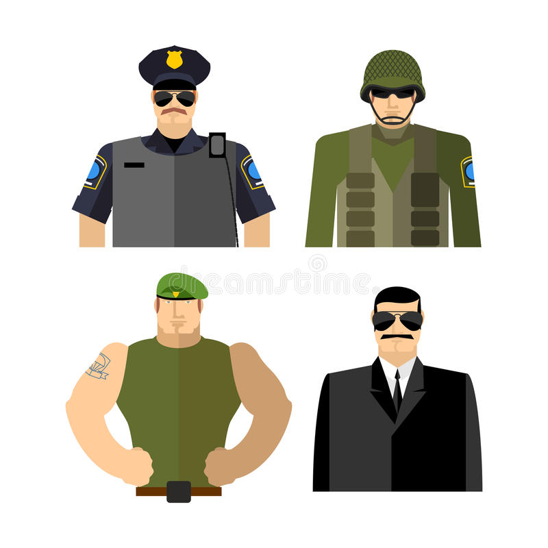 Σύνολο ατόμων στα ενδύματα εργασίας Αστυνομία και στρατιωτικός Στρατιώτης και κατάσκοπος απεικόνιση αποθεμάτων