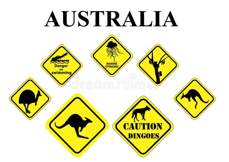 Σύνολο αυστραλιανών άγριων σημαδιών ζωής απεικόνιση αποθεμάτων