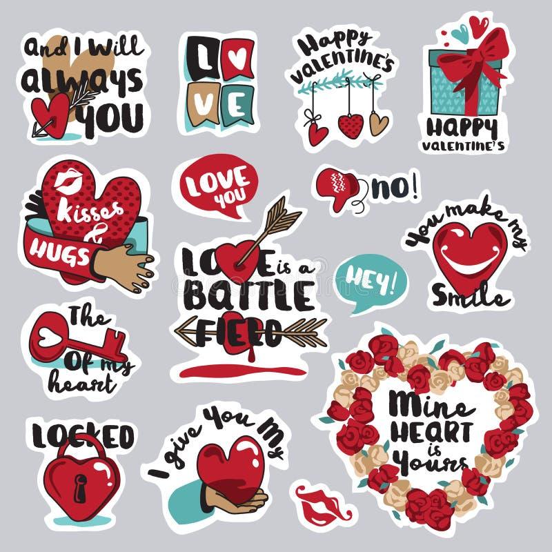 Σύνολο αυτοκόλλητων ετικεττών αγάπης για το κοινωνικό δίκτυο διανυσματική απεικόνιση