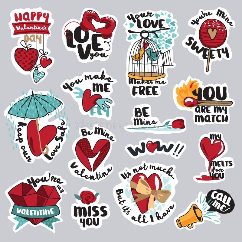 Σύνολο αυτοκόλλητων ετικεττών αγάπης για το κοινωνικό δίκτυο ελεύθερη απεικόνιση δικαιώματος