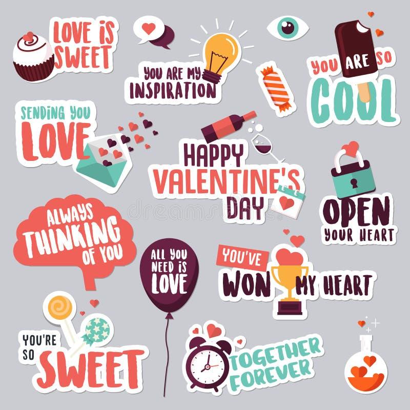Σύνολο αυτοκόλλητων ετικεττών αγάπης για το κοινωνικό δίκτυο απεικόνιση αποθεμάτων